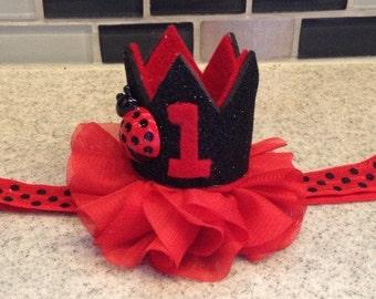 Ladybug first birthday headband, red black ladybug crown headband, ladybug birthday crown