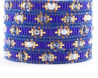 20% off Royal blue beaded leather wrap bracelet