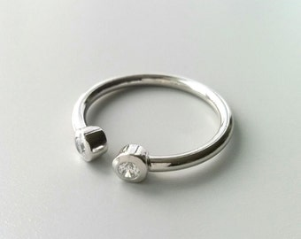 Ring Silver 925/000 half-open - ring 3/4 inlaid zirkonias - multiple sizes available - silver 925 ring