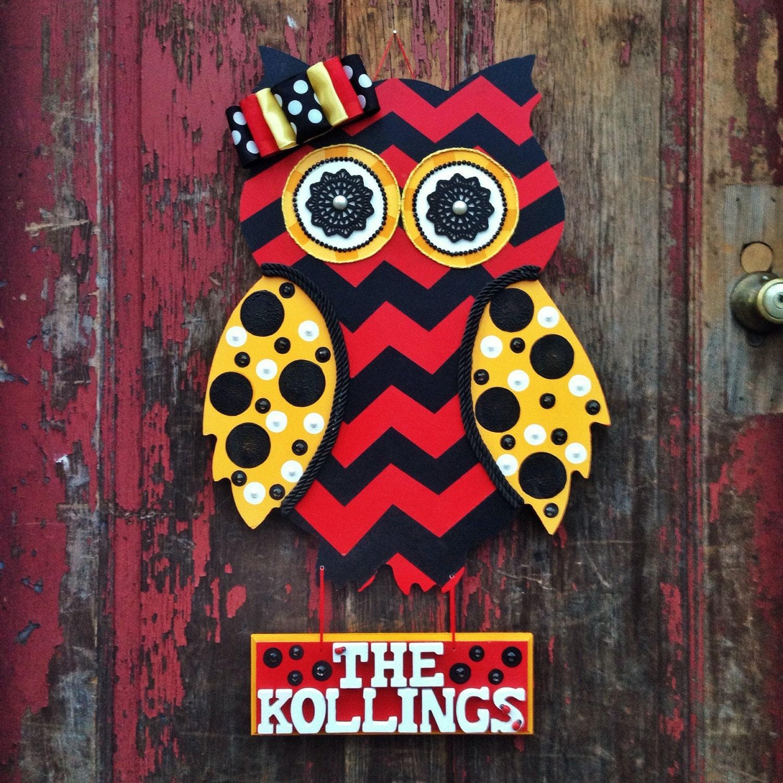 Wooden Owl Wall Decor : Handpainted wooden owl wood decor door wall by