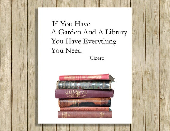 Printable Wall Art Cicero Quote Garden And Library Instant
