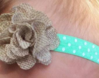Mint Polka Dot headbad with Burlap Flower