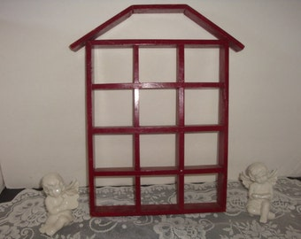 vintage shabby french red wood display shadow box house home shelf case