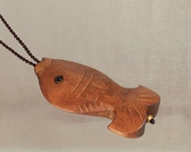 Original Vintage Hand-carved Wooden Fish Necklace, Ethnic Fish Long Necklace Sweater Chain, 17 Inches Long