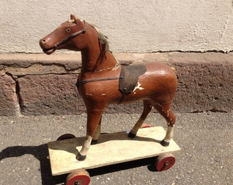 Antique early 20th century wooden horse toy original patina