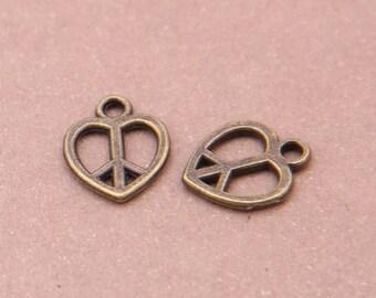 50 pcs - Bronze Love key charms, Antique bronze Pendant,14*12mm Jewelry Making Findings