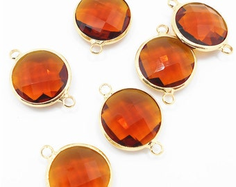 2 pc Smoky Round Glass Bezel Gemstone Pendant - Polished Gold Plated over Brass - 16mm