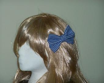 Denim Hair Bow, White and Blue Denim Hair Bow, Recycled Denim
