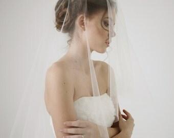 Circle wedding veil with blusher, ivory wedding veil, short wedding veil, drop veil, blusher veil, Elegance - Style V12