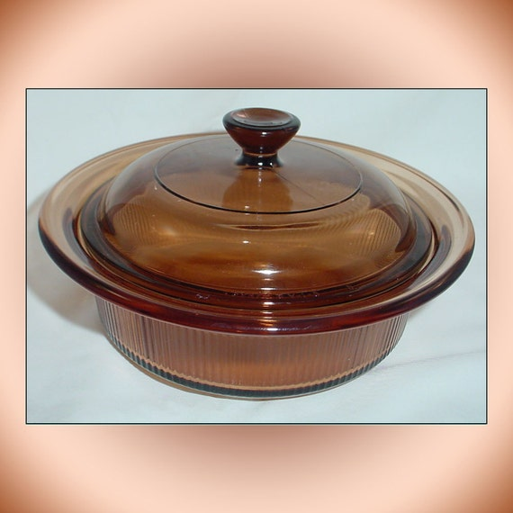 Visions Corning Vintage Cookware Amber Wide Rim Casserole