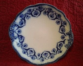 "Antique FLOW BLUE Plate 9.5"" Haddon Pattern"