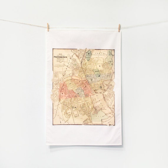 TEA TOWEL - Providence Rhode Island Vintage Map, Kitchen Decor