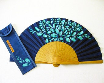 """Hand fan painted with matching sheath """"Freshness"""""""