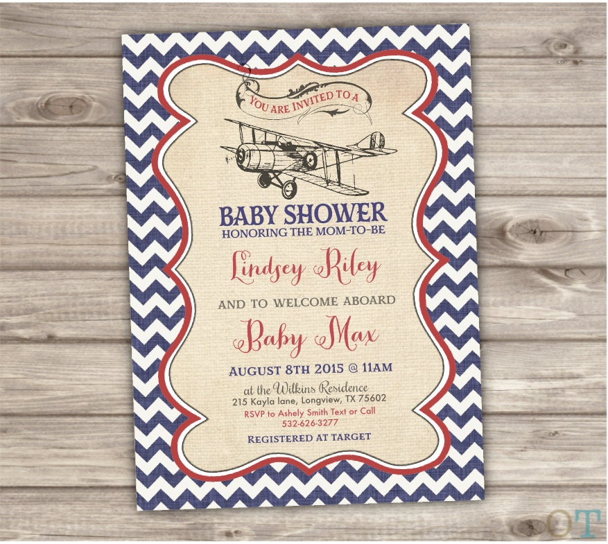 vintage airplane baby shower invitations nv111
