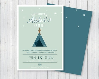 Mint Campout Birthday Party Invitation