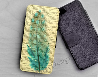 Wallet leather case, Blue Feather iPhone 6 /4 / 4s / 5 / 5s /5c, Samsung Galaxy S3 / S4 / S5 case, Galaxy Note 2, note 3, note 4 case