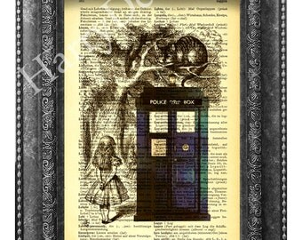 Alice in Wonderland The Cheshire Cat & Dr Who Tardis Dictionary Page Print, Art Print, Vintage Book Print, Wall art, Wall Decor