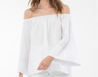 Ciara OFF the SHOULDERS WHITE  Shirt, Women flared blouse shirt One-size-fit Women clothing Fashion white shirt Minimalistic