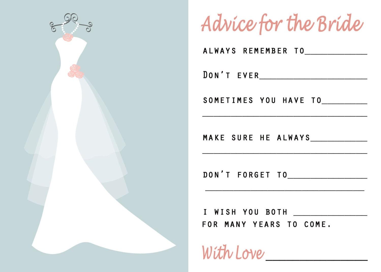 bridal shower advice cards happy wedding wishes wedding