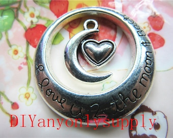 50sets(100pieces) 30mm High quality antiqued silver round i love you to the moon and back charms findings and heart moon pendants