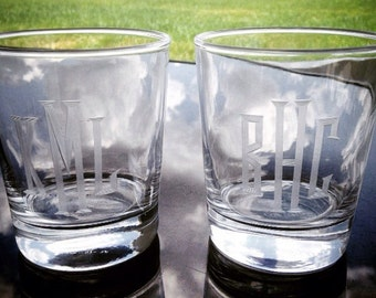 Hand Engraved Personalized 8 ounce Whiskey Glasses: Set of Two