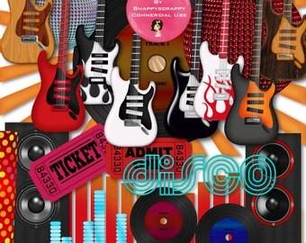 Music Scrap Kit,  Music Scrapbooking, Guitar Scrap Kit, Commercial Use, Rock Music, Music Elements, Guitars, Card Making,