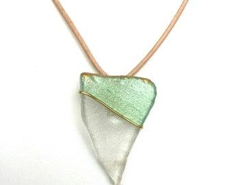 Translucent Sea Glass Triangle Necklace