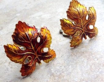 Vintage Autumn Maple Leaf Clip On Earrings Marked Germany