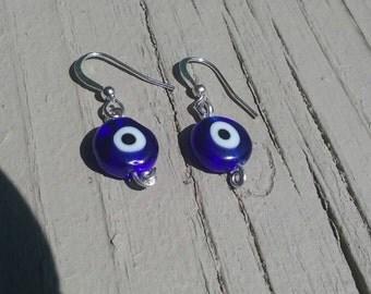 Evil Eye Silver Earrings