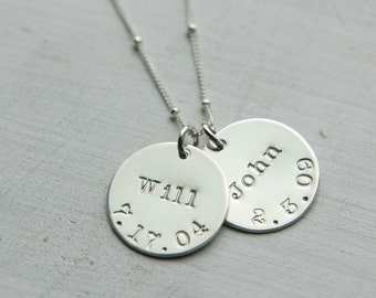 Kids Name Birthday Necklace, Sterling Silver Necklace, Family Necklace, Custom Birthdate Necklace, Personalized Simple Everyday Mom Jewelry