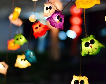 20 Mixed Color Little Owl Lantern String Lights for Home Decoration  Bedroom Decor & Birthday Party