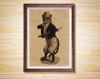 Gentleman Cat print Animal poster Vintage decor