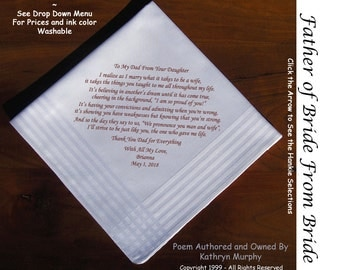 Father of the Bride Gift Handkerchief  0203  Sign and Date for Free!  8 Ink Colors ~ FOB Wedding Handkerchief from the Bride