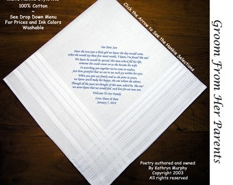 Grooms Gift Hankie From parents of the Bride 0704 Sign & Date Free!     2 Wedding Hankerchief Styles and 8 Ink Colors. Grooms Wedding Hankie