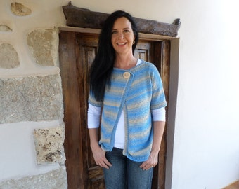 hand knitted asymmetric short sleeved cardigan from pure organic cotton