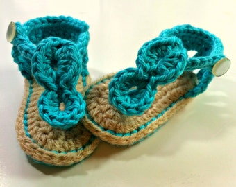 Turquoise Crochet Baby Shoes, Sandals with Buttons 0-12 months