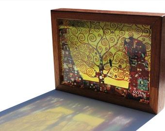 Gustav Klimt The Tree of Life Translucent Handmade Lightbox! See-through art that glows in natural light