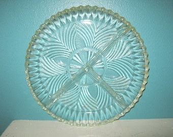 Round Divided Relish Dish, Clear Pressed Glass, Sawtooth Edge, Vintage Serving Dish