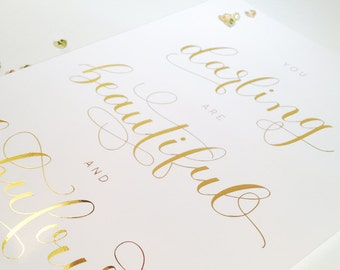 Gold Foil Print | You darling are beautiful | Motivational Print | Inspirational | Typographic Print | Home Decor | Office Wall Art