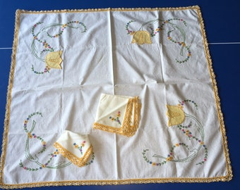 Hand embroidered square luncheon cloth with napkins