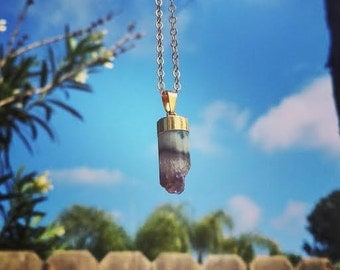 Amethyst Cylinder Pendant Necklace on 14k Gold Fill Chain.