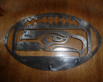 Key Rack Seahawks metal hanger painted