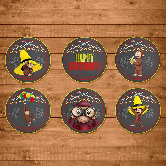 Curious George Cupcake Toppers Chalkboard Theme -- Curious George Stickers -- Curious George Birthday - Curious George Printables