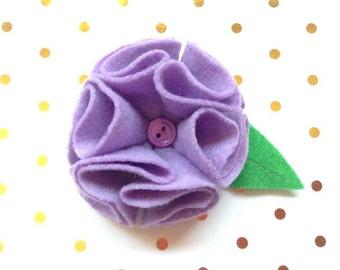 Purple Felt Flower Dog Collar Accessory