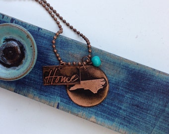 Copper Etched North Carolina/Home Necklace