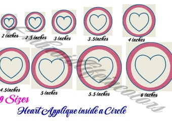 Circle Heart Applique Design,heart in circle Applique pattern instant download , Circle Heart Embroidery Design, 4X4 Embroidery 5x7 hoop