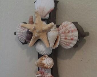 Seashell Cross Wall Decor