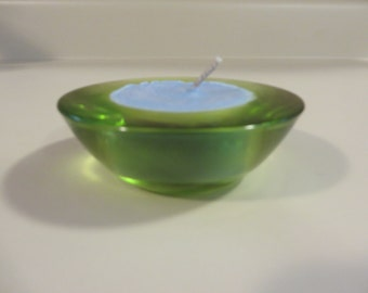 Small green and blue candle