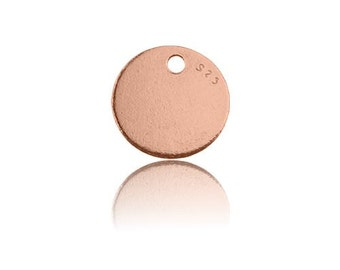 Round Charm Silver 925 plated with pink gold