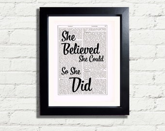 Positive Affirmation She Believed She Could So She Did Quote INSTANT DIGITAL DOWNLOAD A4 Printable Jpeg Pdf Image Poster Wall Art Decor